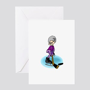 Grany Hockey Player Greeting Card