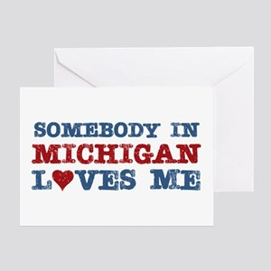 Somebody in Michigan Loves Me Greeting Card