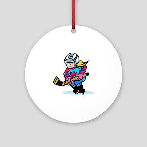 Blonde Hockey Girl Ornament (Round)
