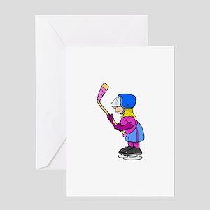 Ice Hockey Chick Greeting Card