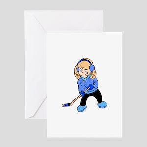 Blonde Hockey Girl Greeting Card