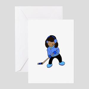 Black Hockey Girl Greeting Card