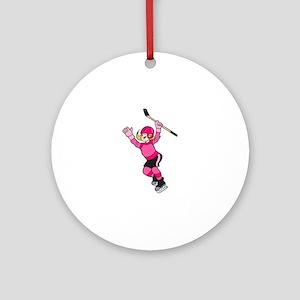 Pink Hockey Winner Ornament (Round)