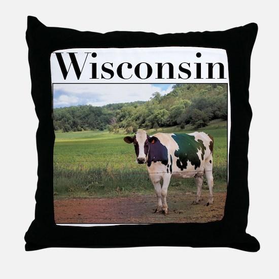 Wisconsin Cow Throw Pillow