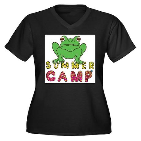 SUMMER CAMP FROG LOOK Women's Plus Size V-Neck Dar