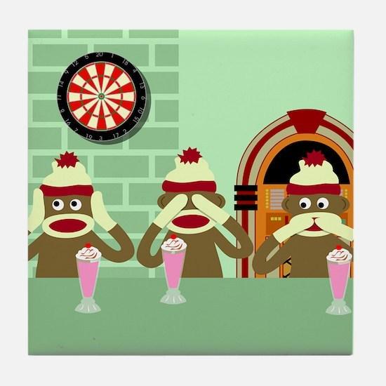 No Evil Sock Monkeys Ice Cream Tile Coaster