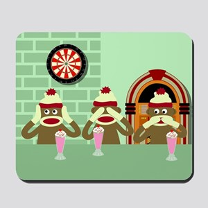 No Evil Sock Monkeys Ice Cream Mousepad