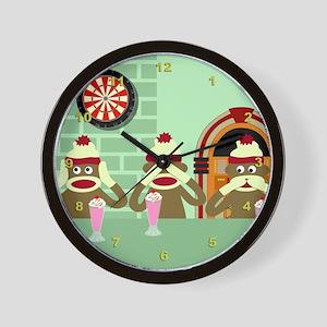 No Evil Sock Monkeys Ice Cream Wall Clock