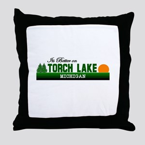 Its Better on Torch Lake, Mic Throw Pillow
