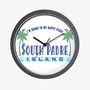 South Padre Happy Place - Wall Clock