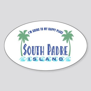 South Padre Happy Place - Oval Sticker