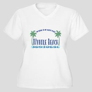 Myrtle Beach Happy Place - Women's Plus Size V-Nec