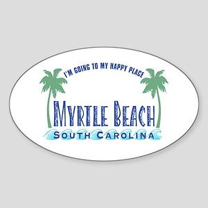 Myrtle Beach Happy Place - Oval Sticker