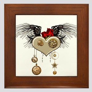 Wonderful steampunk heart with wings, clocks and g