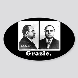 Al Capone Tipjar Sticker GRAZIE Oval Sticker 5365651c33c4