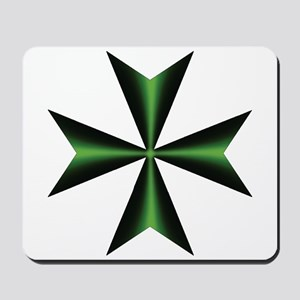 Green Maltese Cross Mousepad