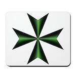 Green Maltese Cross Mousepad