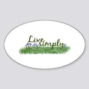 Live Simply (Flowers) Oval Sticker