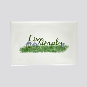 Live Simply (Flowers) Rectangle Magnet