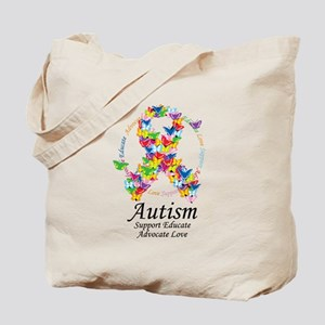 Autism Butterfly Ribbon Tote Bag