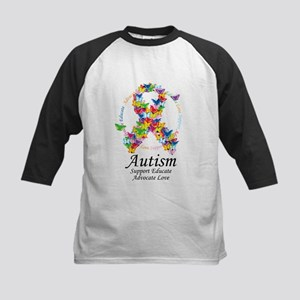 Autism Butterfly Ribbon Kids Baseball Jersey