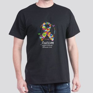 Autism Butterfly Ribbon Dark T-Shirt