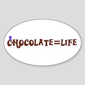 Chocolate=Life Oval Sticker