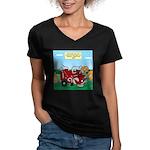 Campsite Compactor Women's V-Neck Dark T-Shirt