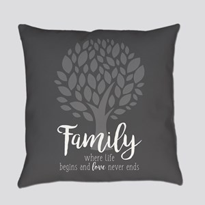 Family Where Life Begins Everyday Pillow