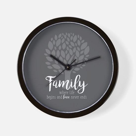 Family Where Life Begins Wall Clock