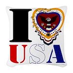 USA I LOVE USA Woven Throw Pillow