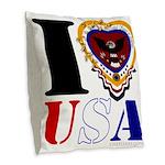 USA I LOVE USA Burlap Throw Pillow