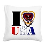 USA I LOVE USA Square Canvas Pillow
