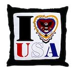 USA I LOVE USA Throw Pillow