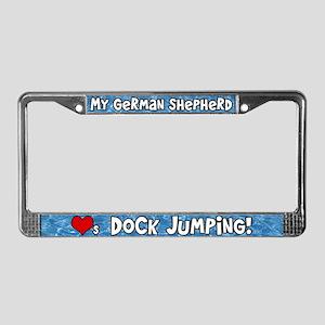 Dock Jumping German Shepherd License Plate Frame
