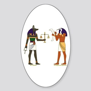 Anubis and Thoth Art Oval Sticker