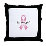 Pink Ribbon - For the girls Throw Pillow