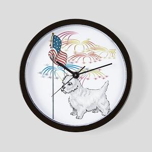 USA Flag Westie Wall Clock