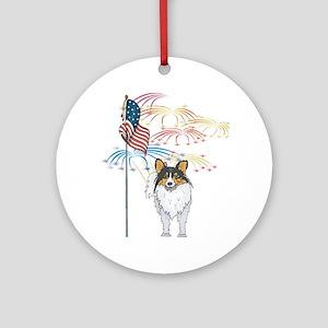 USA Flag Sheltie Ornament (Round)
