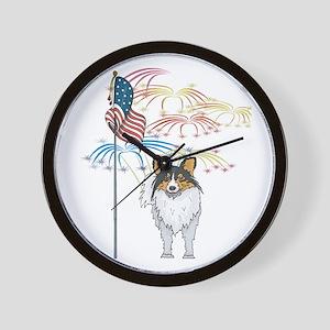 USA Flag Sheltie Wall Clock