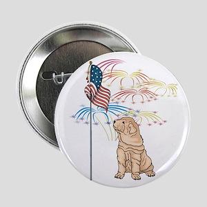 """USA Flag Shar-Pei 2.25"""" Button"""