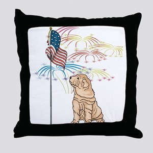 USA Flag Shar-Pei Throw Pillow