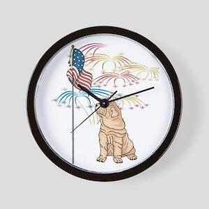 USA Flag Shar-Pei Wall Clock