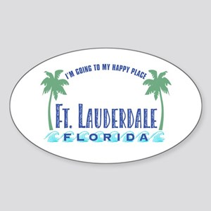 Ft. Lauderdale Happy Place - Oval Sticker
