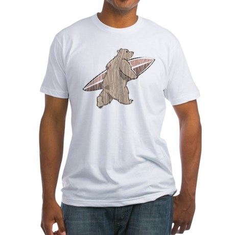 Surfing Brown Bear Fitted T-Shirt