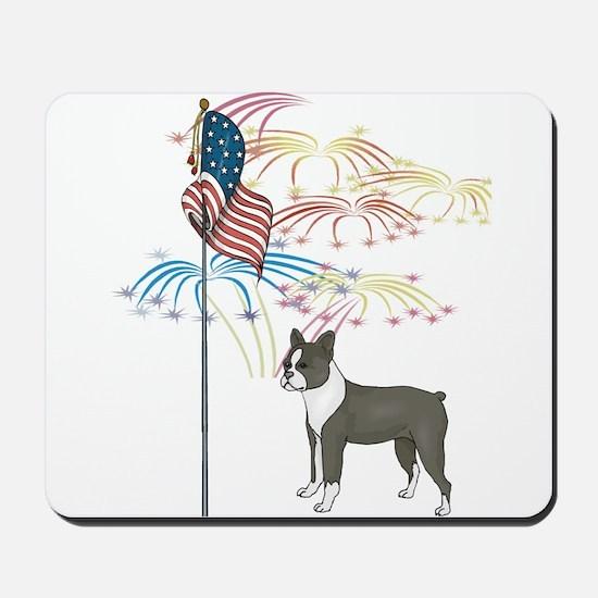 USA Flag Boston Terrier Mousepad