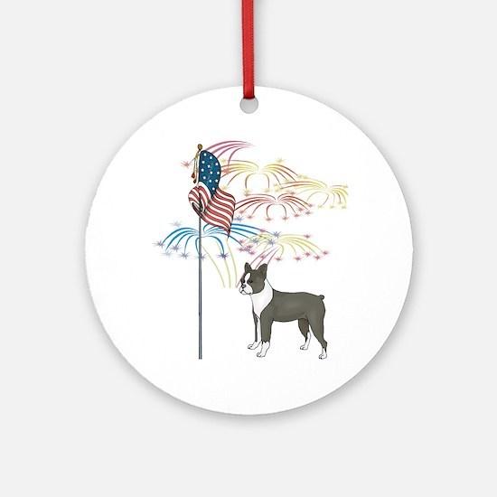 USA Flag Boston Terrier Ornament (Round)