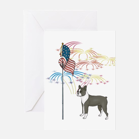 USA Flag Boston Terrier Greeting Card