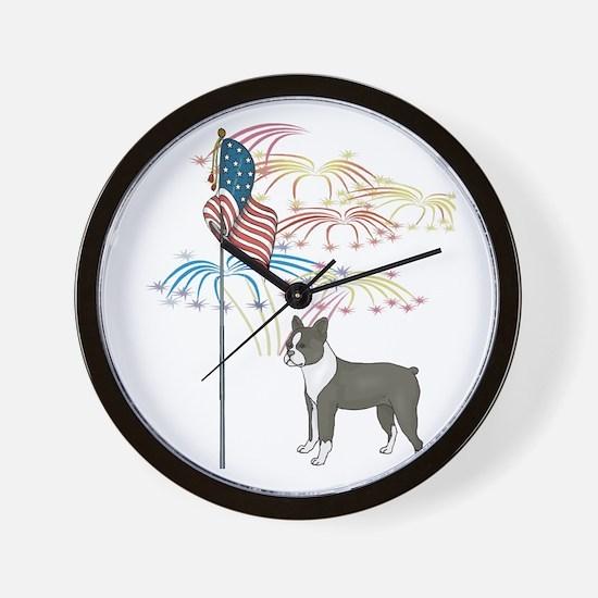 USA Flag Boston Terrier Wall Clock