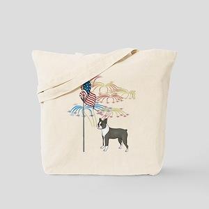 USA Flag Boston Terrier Tote Bag